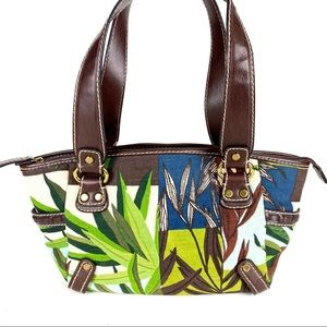 Fossil Canvas Satchel Bag Brown Green Floral